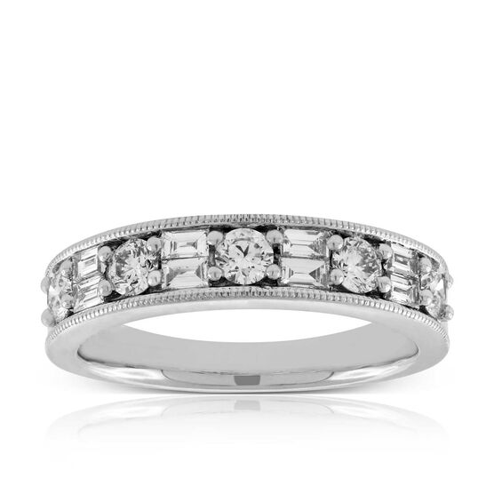 Baguette & Round Diamond Band 14K