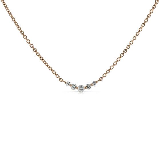 Rose Gold Diamond Station Necklace 14K