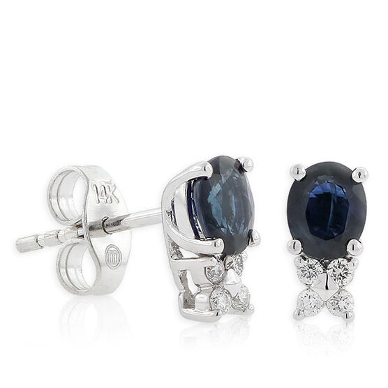 Sapphire & Diamond Earrings 14K