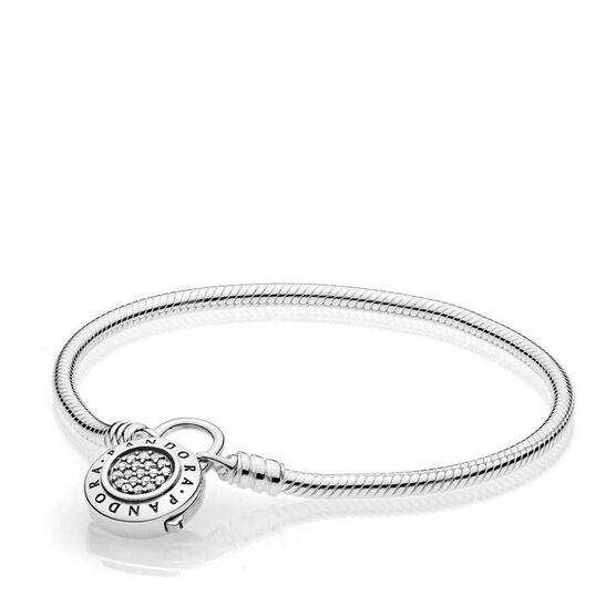 Pandora Signature CZ Padlock Clasp Smooth Bracelet