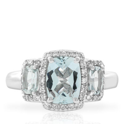 Aquamarine & Diamond 3-Stone Ring 14K