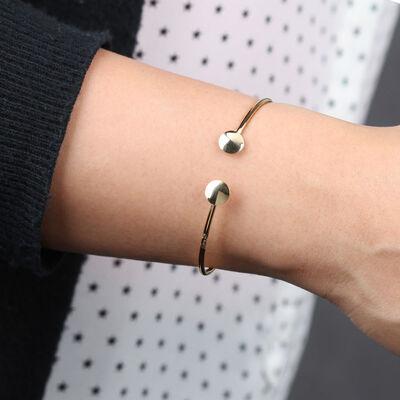 Round End Cuff Bracelet 14K
