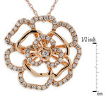 Rose Gold Diamond Floral Pendant 14K