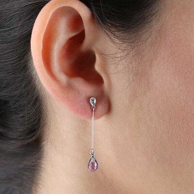 Amethyst & Diamond Drop Earrings 14K