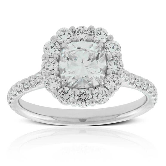 Cushion Cut Diamond Halo Ring 18K, 1 ct. Center