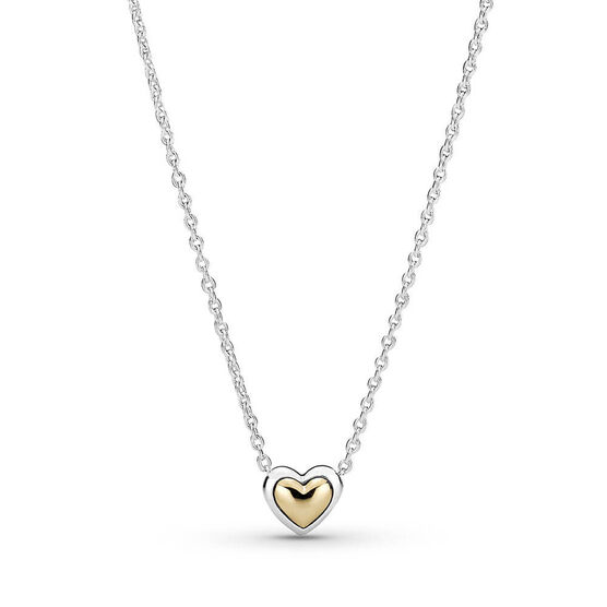 Pandora Domed Golden Heart Collier Necklace, 14K &Silver
