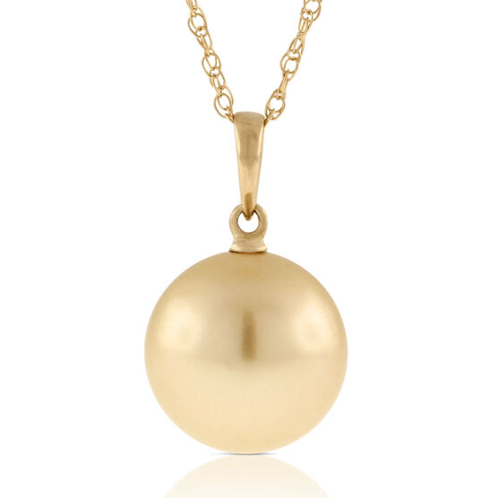 Golden South Sea Cultured Pearl Pendant 14K