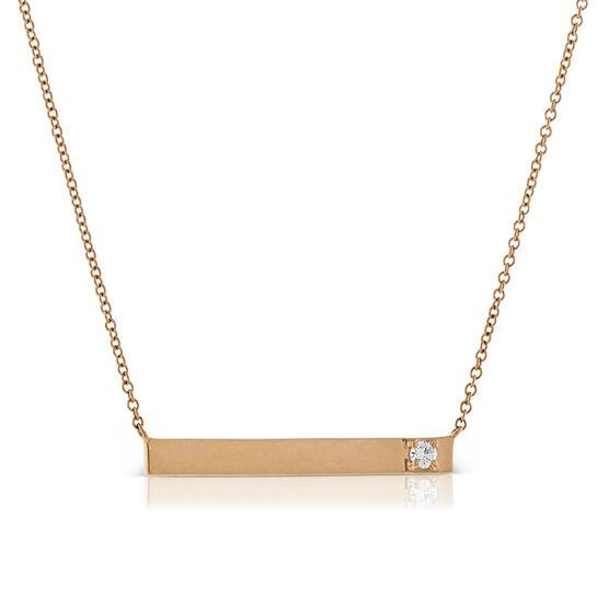 Ikuma Canadian Diamond Bar Pendant in 14K Rose Gold