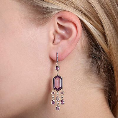 Amethyst, Pink Sapphire & Diamond Earrings 14K