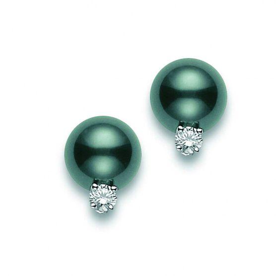 Mikimoto Cultured Black South Sea Pearl & Diamond Earrings 18K
