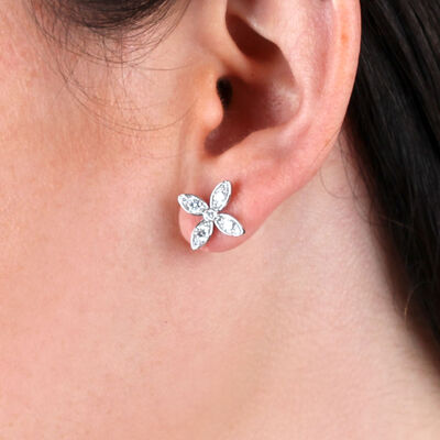 Flower Shaped Earrings with Diamonds 14K