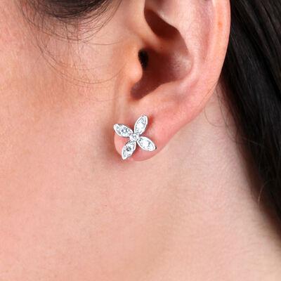 Flower Shaped Earrings with Diamonds 14K