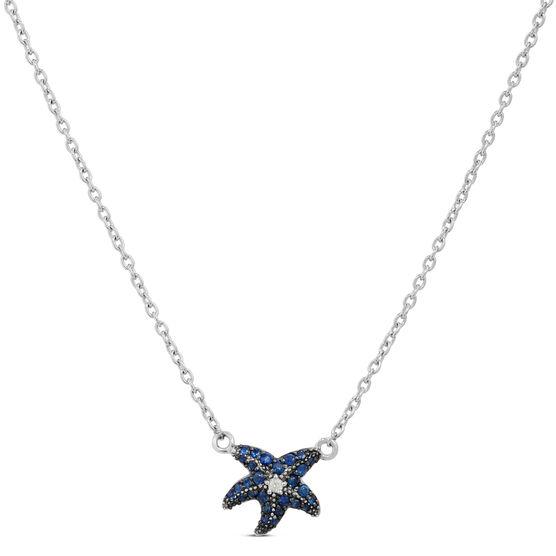 Lisa Bridge Sapphire & White Topaz Starfish Necklace