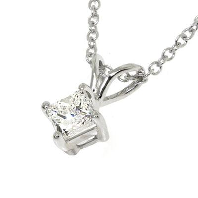 Princess Cut Diamond Pendant 14K, 3/8 ct.