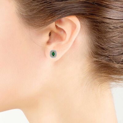 Double Halo Emerald & Diamond Earrings 14K