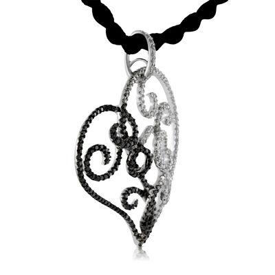 Black & White Diamond Open Heart Pendant 14K
