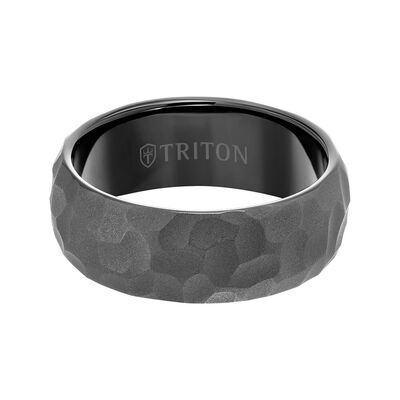 TRITON RAW Contemporary Comfort Fit Hammered Band in Black Tungsten, 8 mm