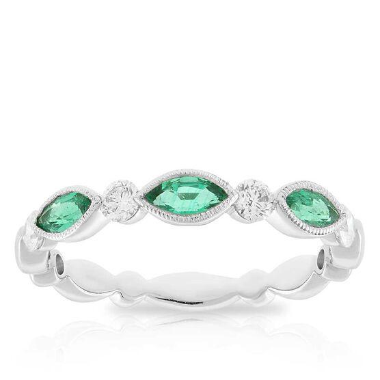 Marquise Emerald & Diamond Ring 14K