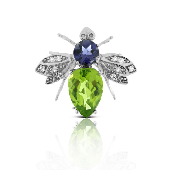 Iolite, Peridot & Diamond Bee Brooch / Pendant 14K