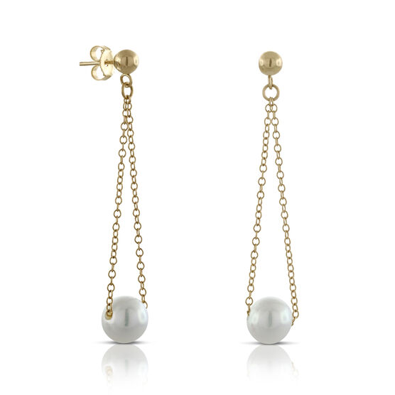 Swing Cultured Pearl Earrings 14K