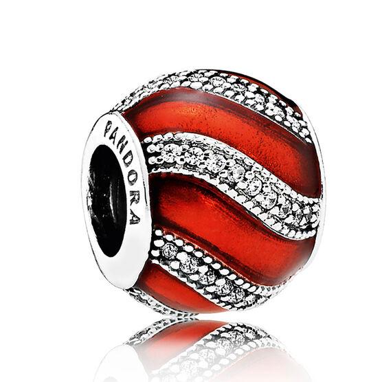 PANDORA Adornment Charm, Red Enamel & Clear CZ