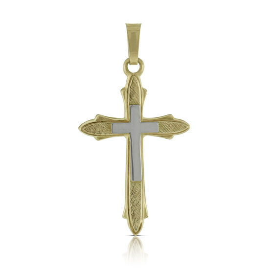 Beveled Cross Pendant 14K