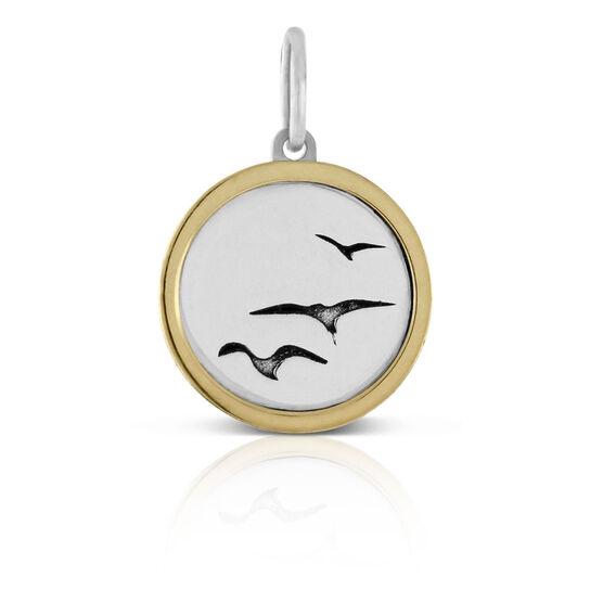Seagulls Framed Charm / Pendant, Silver & 14K
