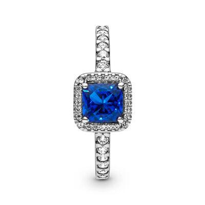 Pandora Square Sparkle Halo CZ & Blue Crystal Ring