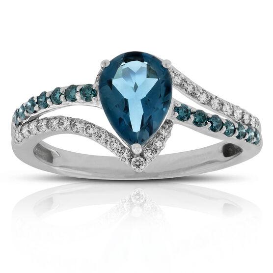 London Blue Topaz, Blue & White Diamond Ring 14K