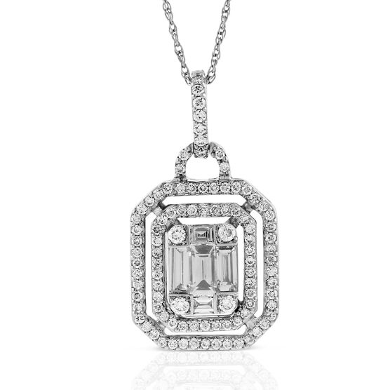 Double Halo Diamond Pendant 14K
