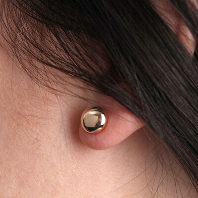 Rose Gold Stud Earring 14K, 8mm