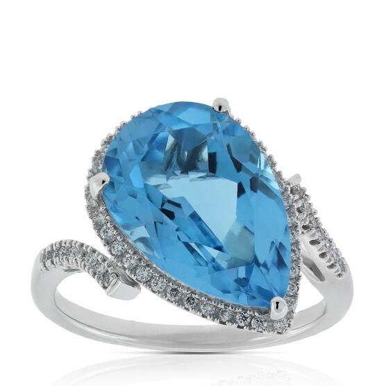 Pear Blue Topaz & Diamond Ring 14K