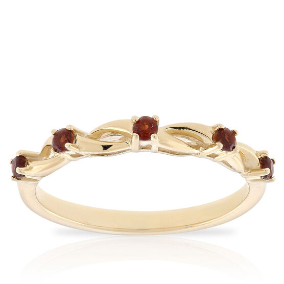 Garnet Open Twist Band 14K