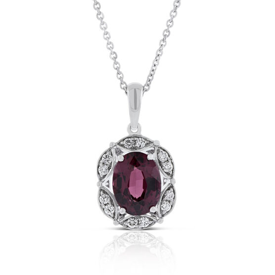 Rhodolite Garnet & Diamond Necklace 14K
