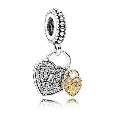 Pandora Love Locks Charm, Silver & 14K