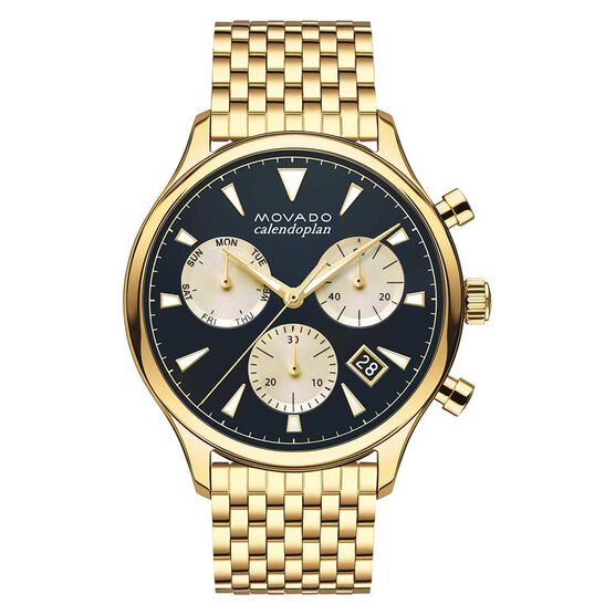 Movado Heritage Calendoplan Chronograph Yellow Ion Watch, 43mm