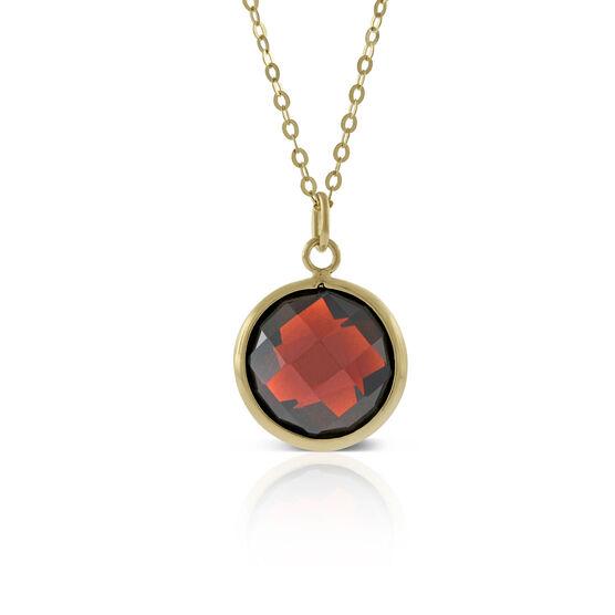 Round Bezel Set Garnet Necklace 14K