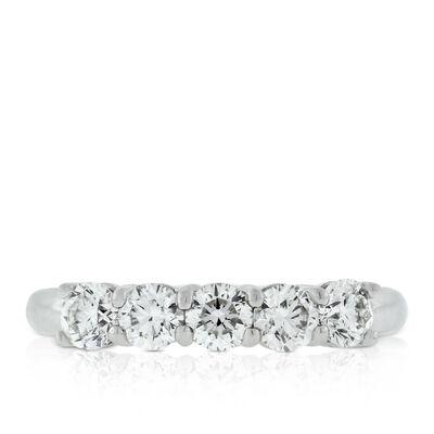 Five Diamond Ring, 1 ctw, in Platinum