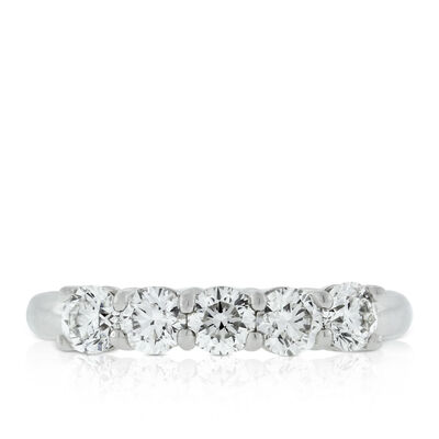 Five Diamond Ring, 1 ctw, in Platinum