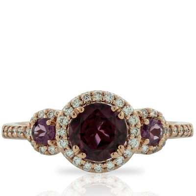 Rose Gold Rhodolite Garnet & Diamond 3-Stone Ring 14K