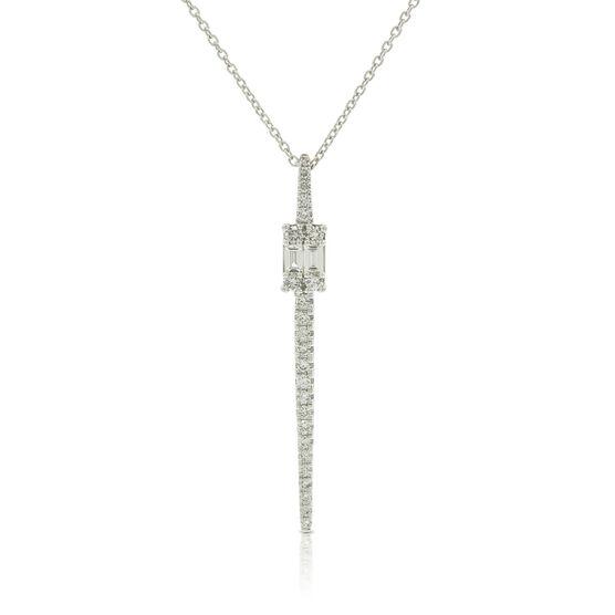Baguette & Round Diamond Cluster Stick Necklace 14K