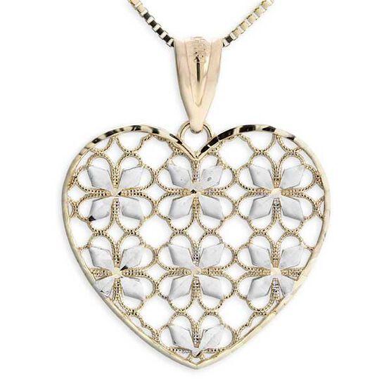 Diamond Cut Heart Pendant 14K