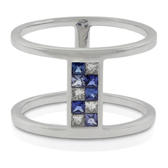 Sapphire & Diamond Double Bar Mosaic Ring 14K