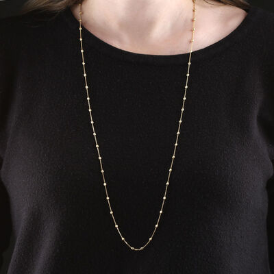 """Moon Cut Oval Bead Station Necklace 14K, 34"""""""