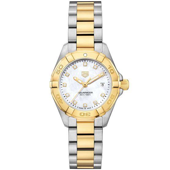 TAG Heuer Aquaracer Ladies Mother of Pearl Watch, 18K & Steel