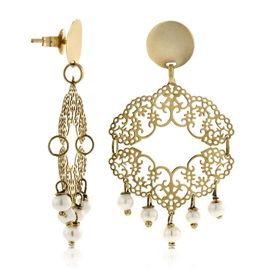 Cultured Pearl Chandelier Earrings 14K