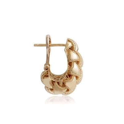 """Toscano Woven Domed """"J"""" Hoop Earrings 14K"""