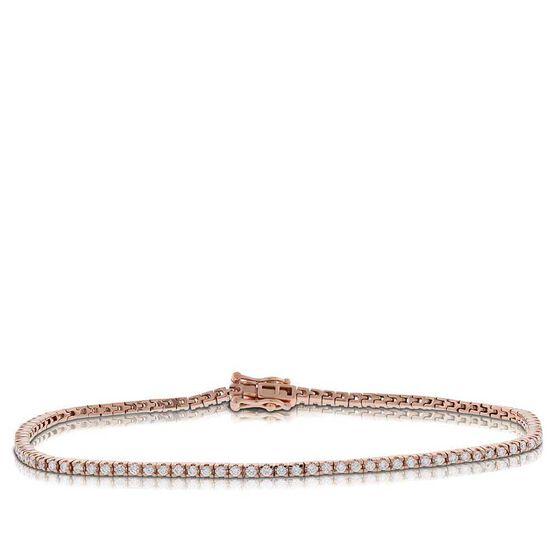 Rose Gold Diamond Tennis Bracelet 14K