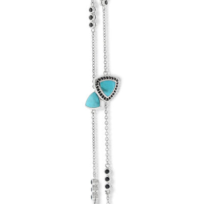 Lisa Bridge Turquoise & Black Sapphire Necklace 36""