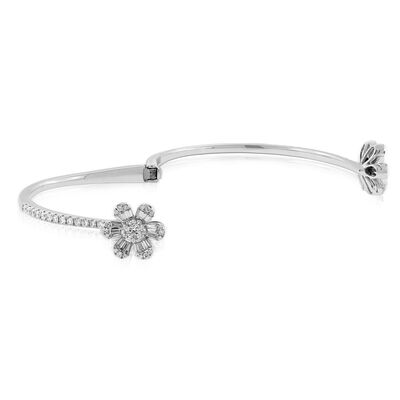 Double Flower Diamond Bangle 14K